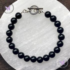 Black Onyx Healing Bracelet with Silver Toggle Clasp